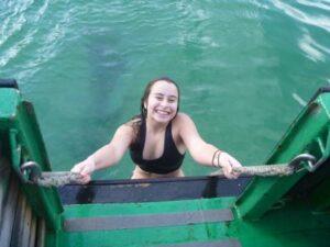 chloe 1st swim